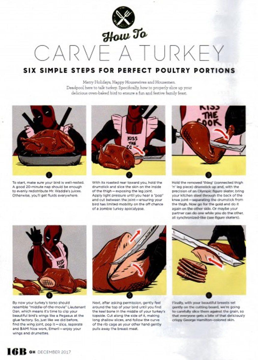 'Deadpool' enseña a cortar un pavo