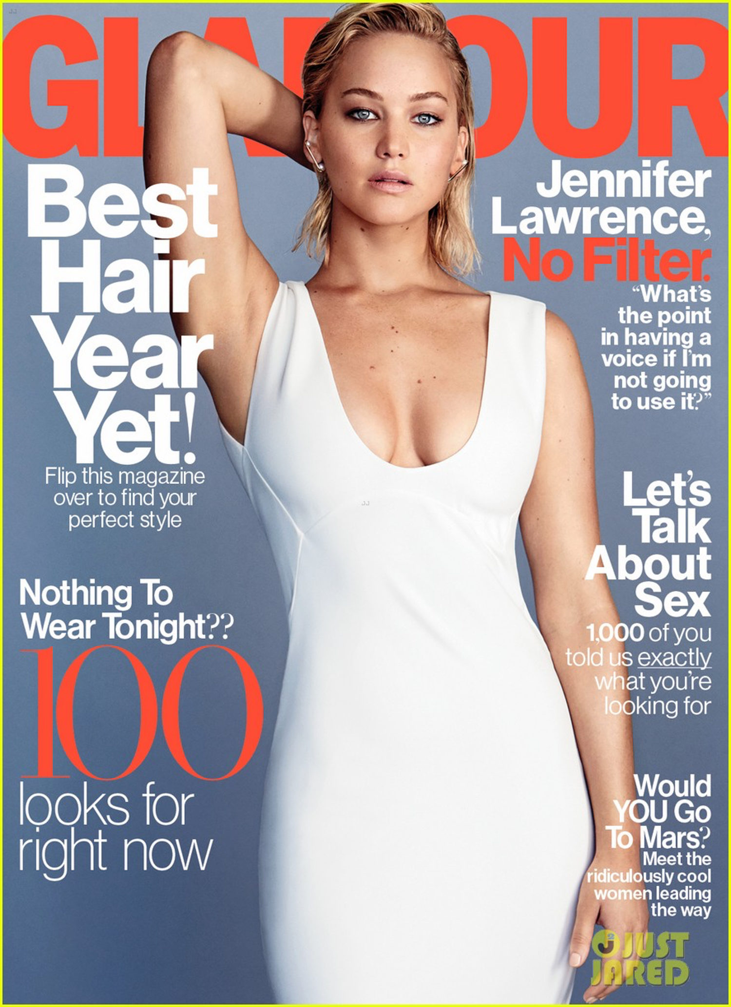 Jennifer Lawrence en la portada de la revista Glamour