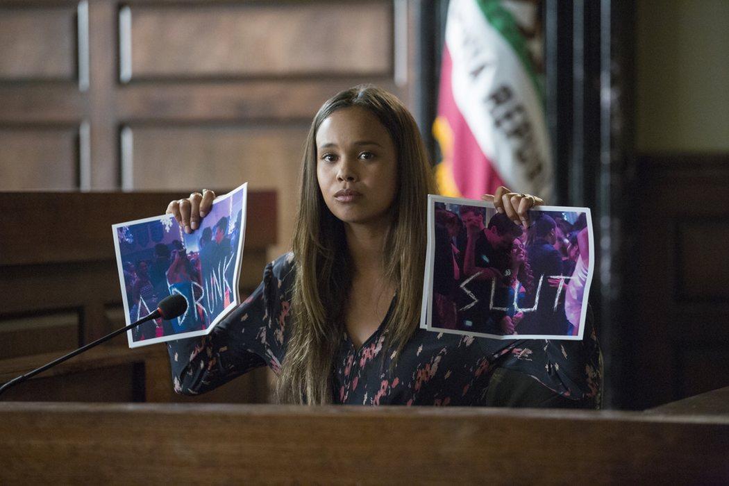 Jessica testificando en el juicio de Hannah