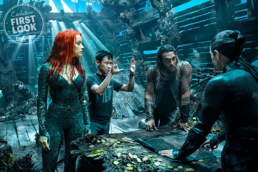 James Wan junto a Jason Momoa y Amber Heard