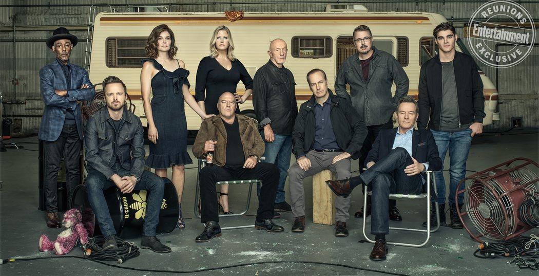 El reparto principal al completo de Breaking Bad