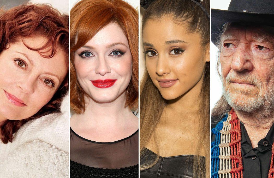 Christina Hendricks, Susan Sarandon, Willie Nelson y Ariana Grande
