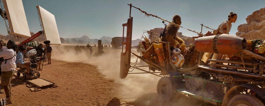 Chewbacca, BB-8 y Rey en acción