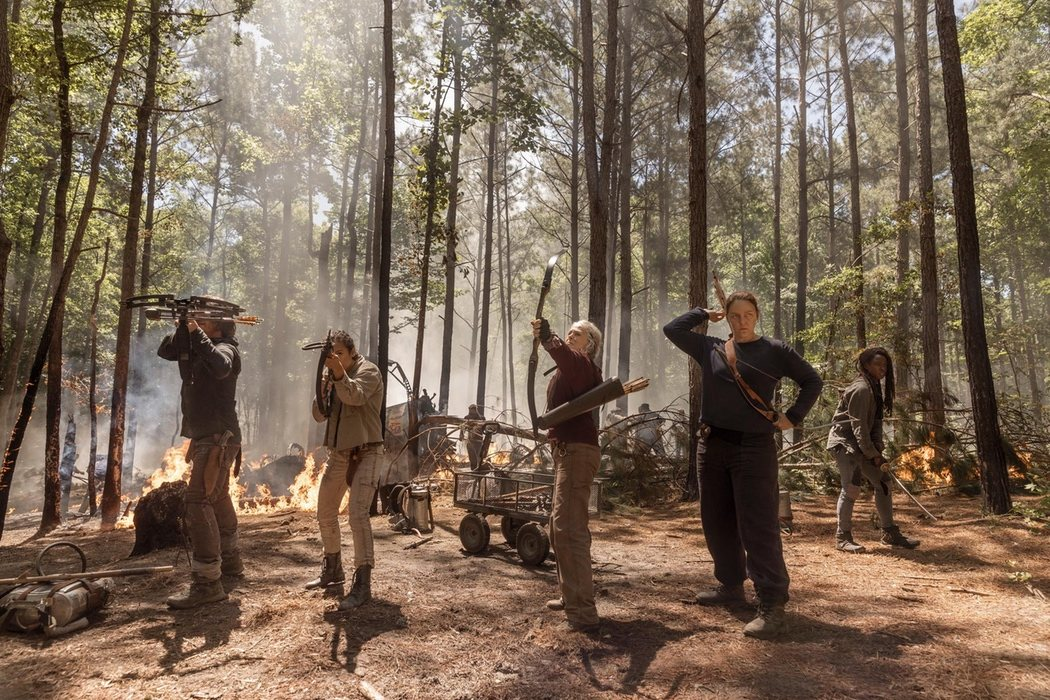 Daryl, Cyndie, Carol, Diane y Michonne