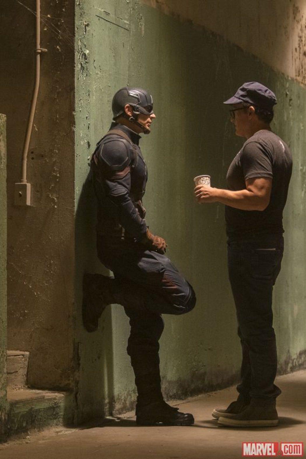 Chris Evans (Capitán América) en el rodaje