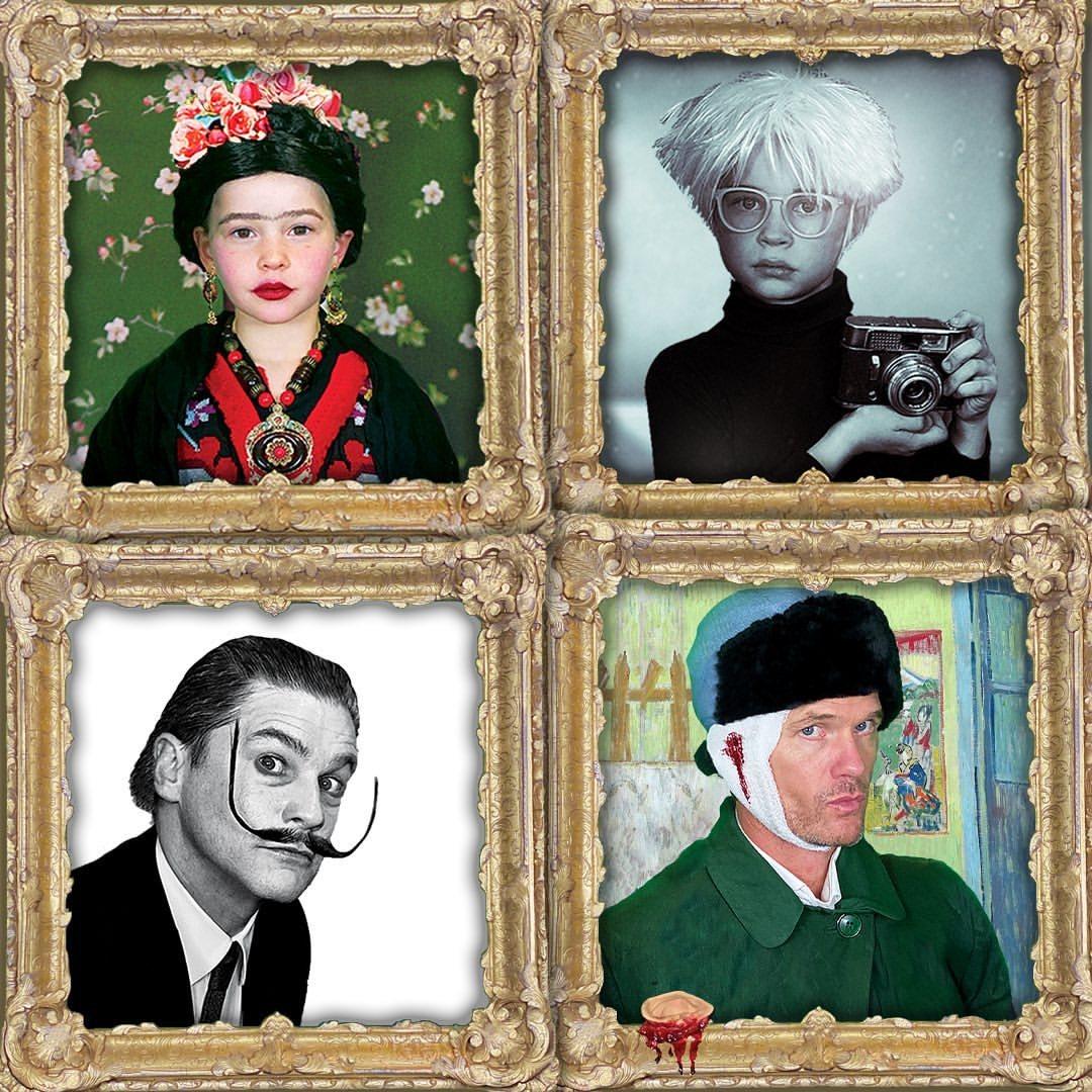 Neil Patrick Harris y David Burtka junto a sus hijos de Frida Kahlo, Andy Warhol, Dalí y Van Gogh