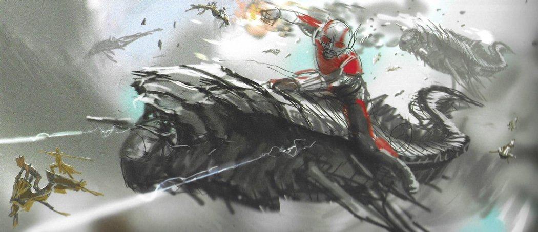 Ant-Man gigante montando una nave chitauri