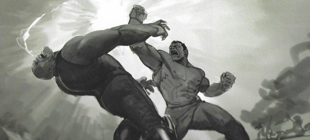 Hulk golpeando a Thanos