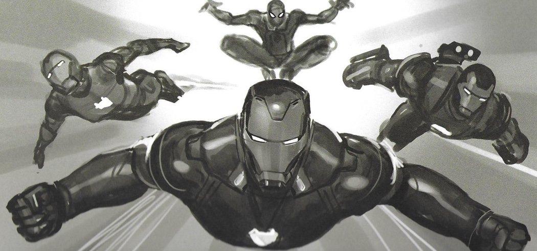 Iron Man, Maquina de Guerra, Rescue (Pepper Potts) y Spiderman saltando al combate