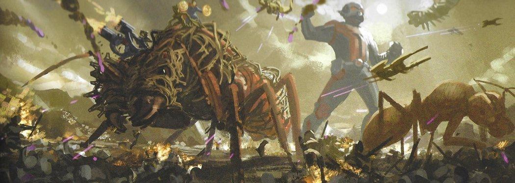 Hormigas y Ant-Man gigante en batalla
