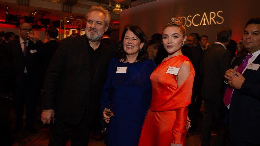 Sam Mendes, Pippa Harris y Florence Pugh