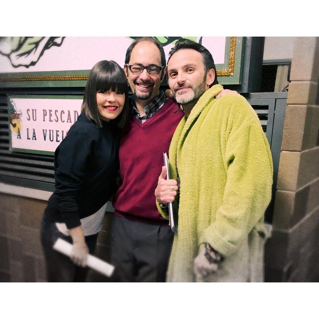 Laura Caballero, Jordi Sánchez y Fernando Tejero en el rodaje de 'LQSA'
