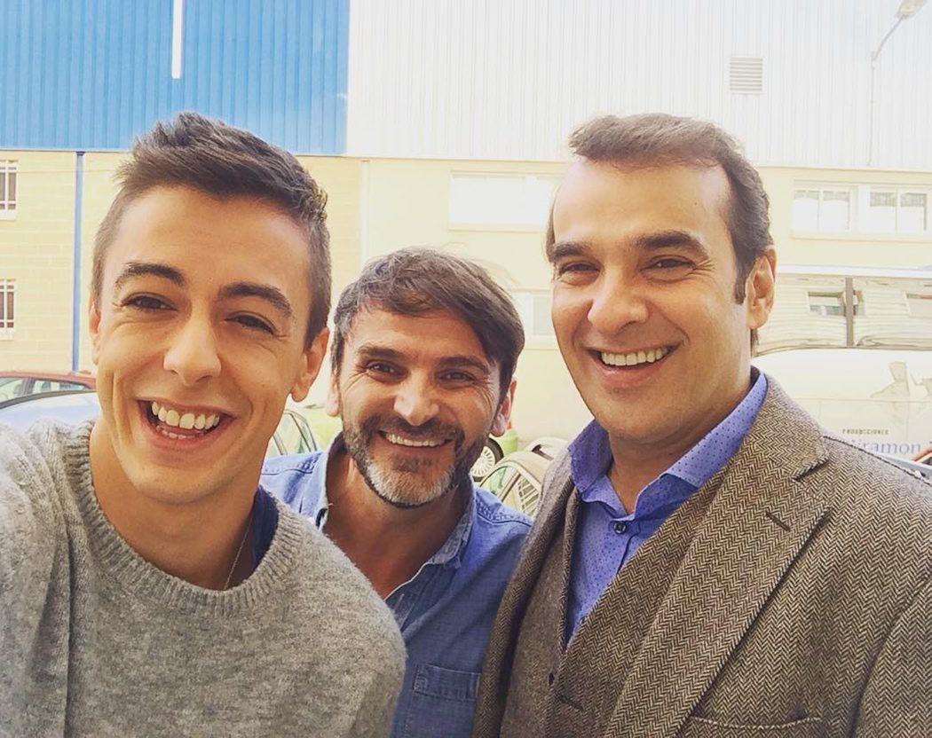 Víctor Palmero, Fernando Tejero y Luis Merlo en el rodaje de 'LQSA'