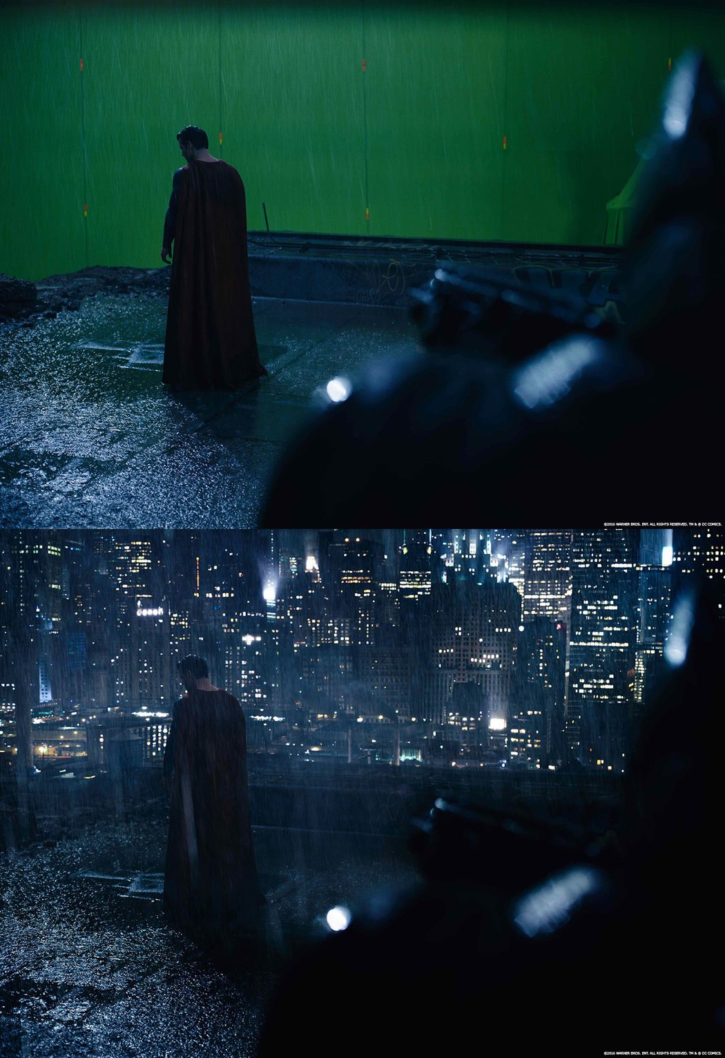 Superman sobre chroma verde en 'Batman v Superman'