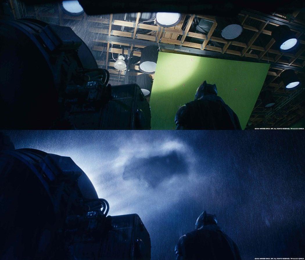 La marca de Batman en el cielo después de los efectos especiales