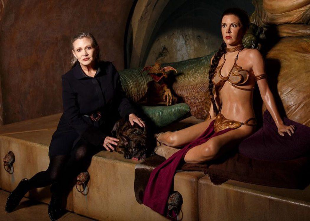 Fisher emula la postura de Leia en 'El retorno del Jedi'