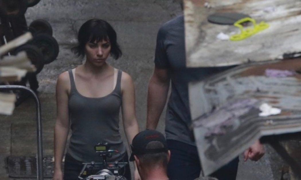 Scarlett Johansson en el rodaje de 'Ghost in the Shell' en Hong Kong
