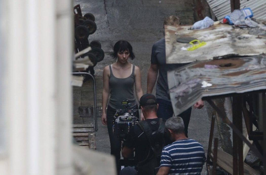 Scarlett Johansson grabando 'Ghost in the Shell' en Hong Kong