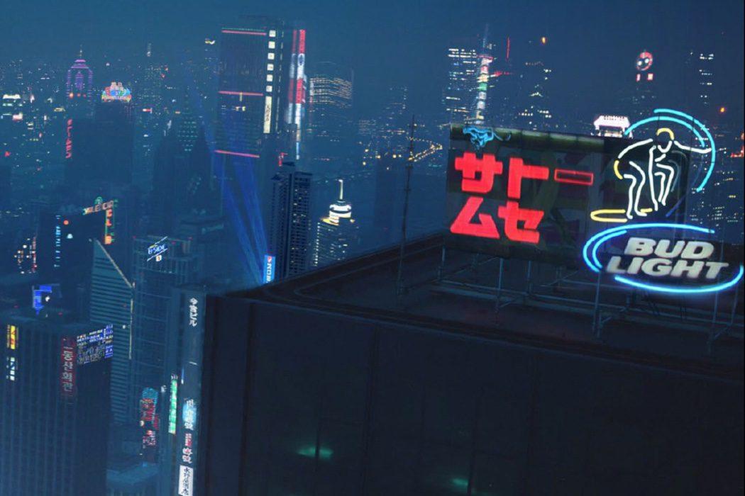 Nueva-Manhattan haciendo publicidad de Budweiser