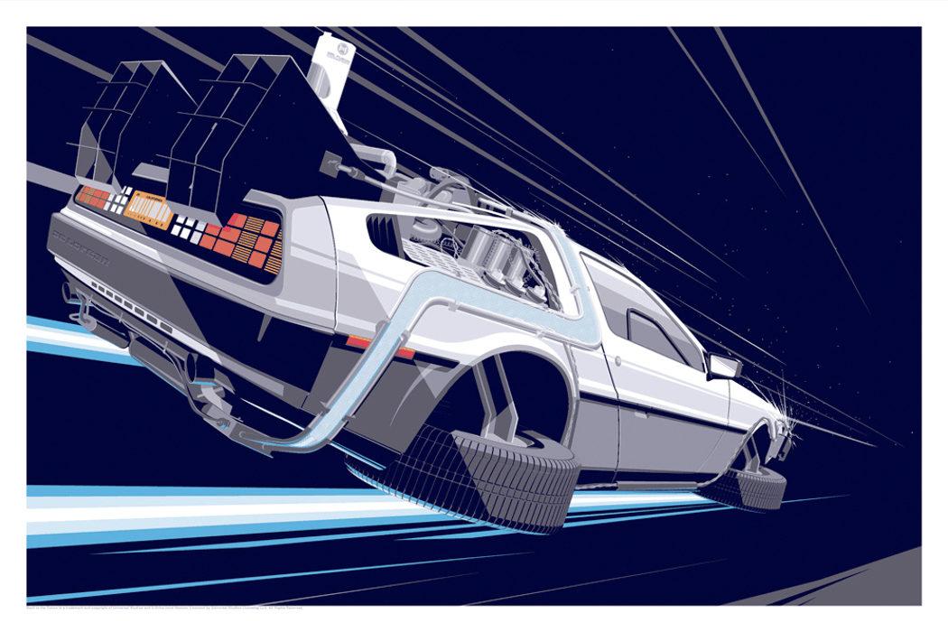 El DeLorean de 'Regreso al futuro', lámina de arte de Craig Drake
