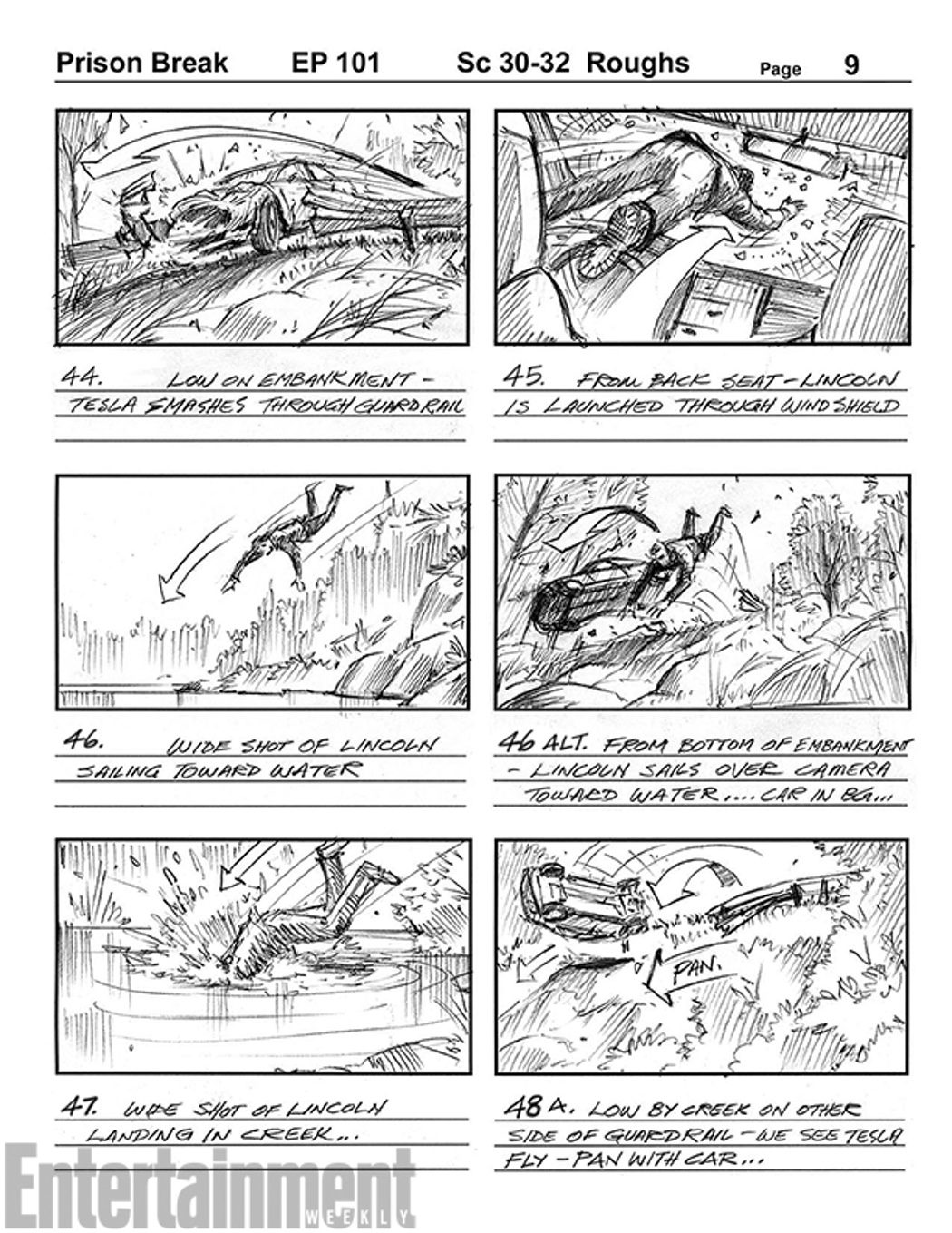 Storyboard de la primera escena del regreso de 'Prison Break'